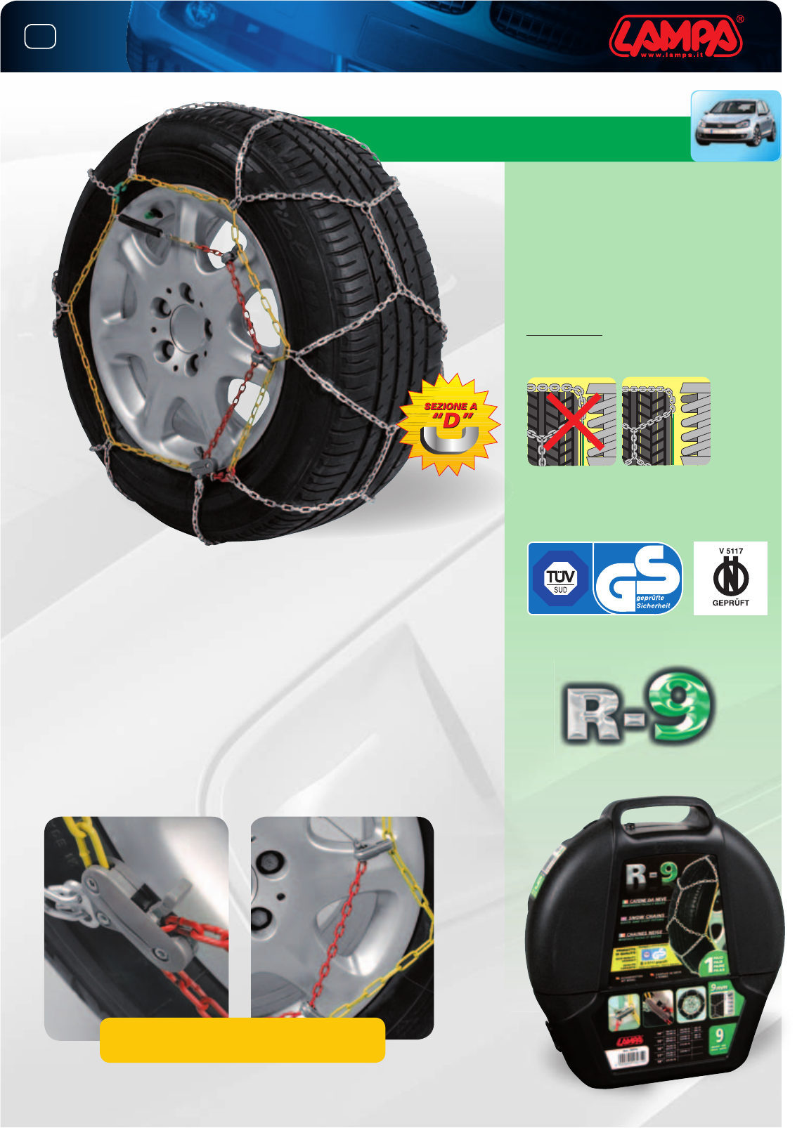 26,5 FUORISTRADA omologate misura 265//40-21 CATENE DA NEVE 12 mm a ROMBO SUV